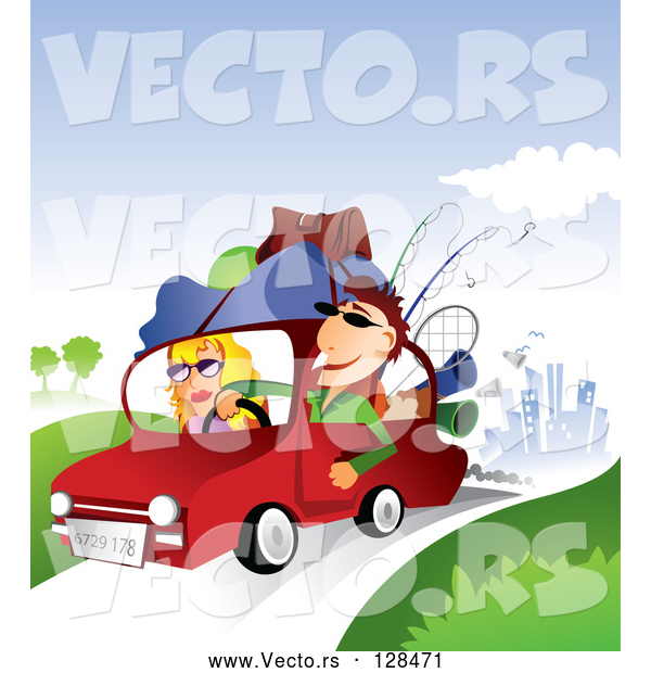 Vector of Young Couple with Camping Gear on Top of Their Car, Taking a Summer Vacation Away from the City