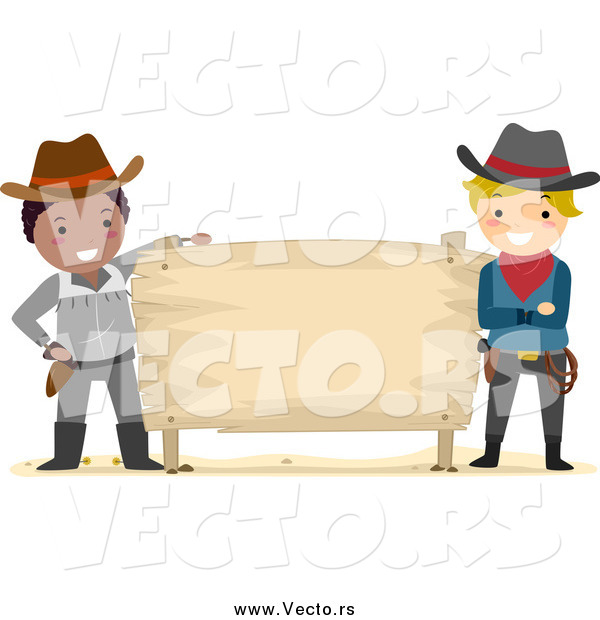 Vector of Young Cowboys with a Blank Sign