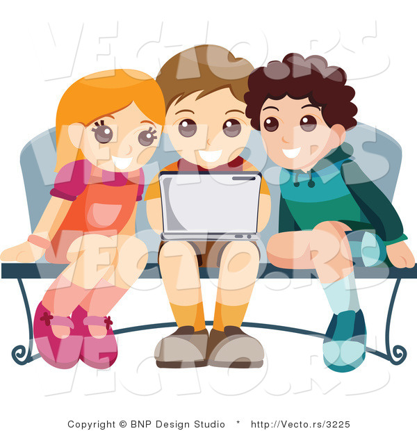 Vector of Young Girl and Two Boys Using a Laptop Computer at a Bench
