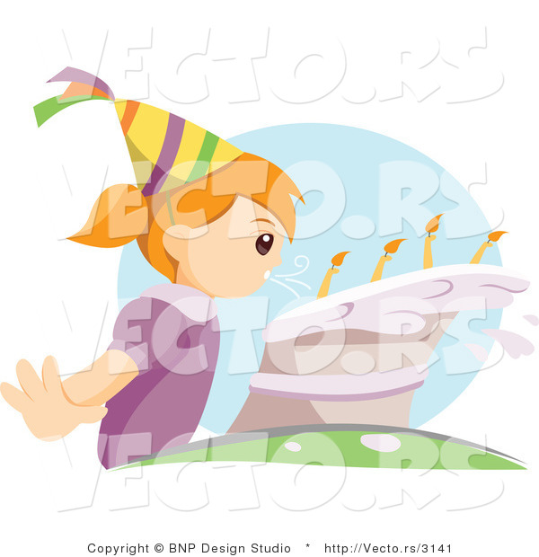 Vector of Young Girl Blowing Candles on Her Birthday Cake