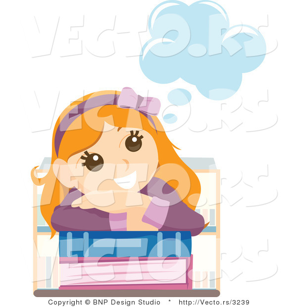 Vector of Young Happy Girl Day Dreaming over School Books