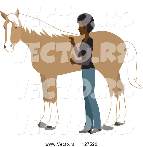 : Vector of Young Indian Lady Grooming Her Pet Horse with a Brush