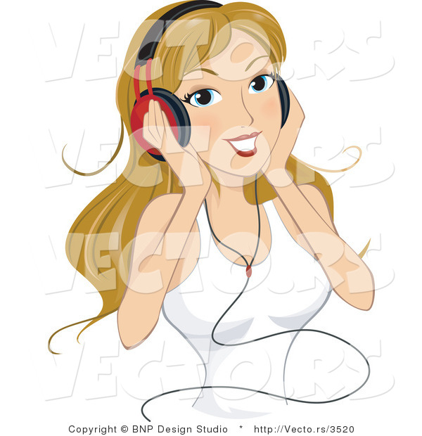 Vector of Young Lady Listening to Music Through Headphones