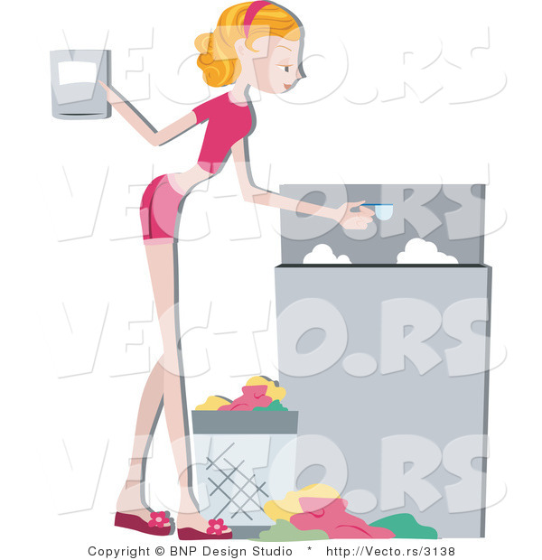 Vector of Young Lady Pouring Detergent in a Washing Machine