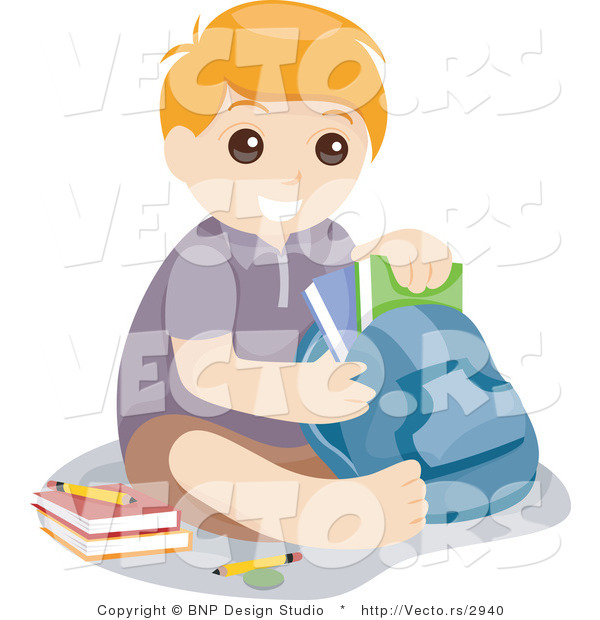 Vector of Young School Boy Sitting with Books and Backpack