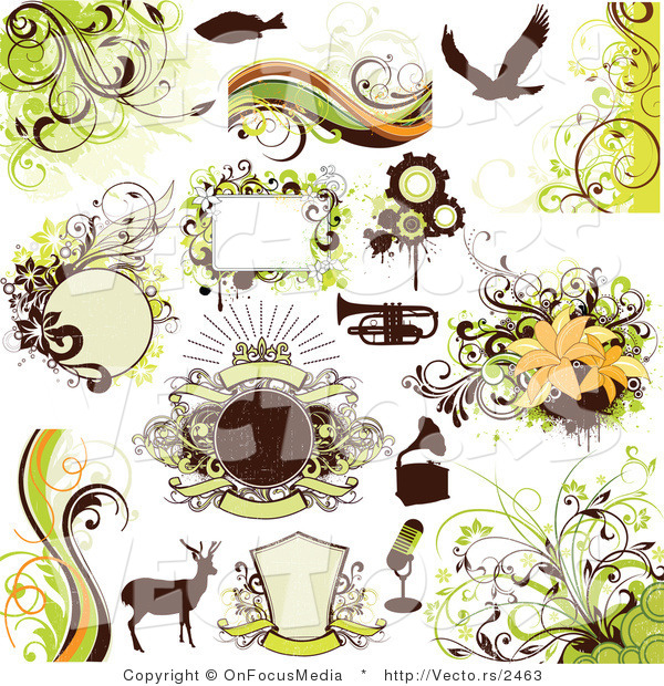 Vector Series of Fish, Eagle, Trumpet, Phonograph, Microphone, Deer, and Many Green Floral Design Elements