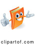 3d Vector of Cartoon 3d Orange Book Character Smiling and Holding a Thumb up by AtStockIllustration