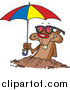 Cartoon of a Groundhog Emerging with Shades and an Umbrella by Toonaday