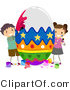 Cartoon Vector of 2 Children Painting a Huge Easter Egg by BNP Design Studio
