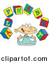 Cartoon Vector of a Baby with Alphabet Letter Blocks by Toonaday