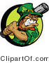 Cartoon Vector of a Baseball Leprechaun Mascot Batting by Chromaco