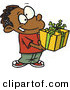 Cartoon Vector of a Black Boy Holding Present by Toonaday