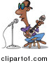 Cartoon Vector of a Black Man Singing the Blues by Toonaday