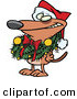 Cartoon Vector of a Brown Dog Wearing Santa Hat and Grinning with Christmas Wreath Around His Neck by Ron Leishman
