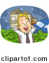 Cartoon Vector of a Business Man Day Dreaming of Being Rich by BNP Design Studio