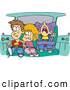 Cartoon Vector of a Cartoon Sister and Brothers Fighting in a Car on a Family Road Trip by Ron Leishman