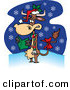 Cartoon Vector of a Christmas Cow Singing Carols While It Snows by Toonaday