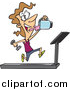 Cartoon Vector of a Fit Woman Running on a Treadmill and Drinking Juice from a Blender by Toonaday