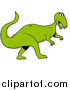 Cartoon Vector of a Green Tyrannosaurus Rex Dinosaur Walking Forward by LaffToon