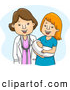 Cartoon Vector of a Gynecologist Doctor Standing with Her Happy Patient and Baby by BNP Design Studio