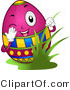 Cartoon Vector of a Happy Easter Egg Peeking Around Grass by BNP Design Studio