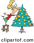 Cartoon Vector of a Happy Girl Decorating a Christmas Tree by Toonaday