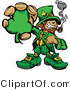 Cartoon Vector of a Happy Leprechaun Mascot Holding out Clover While Smoking a Pipe by Chromaco