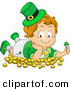 Cartoon Vector of a Happy Leprechaun Toddler Boy Laying on Gold Coins and Holding a Clover by BNP Design Studio