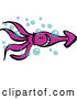 Cartoon Vector of a Happy Purple Squid Swimming Through Bubbles by Zooco