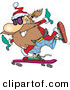 Cartoon Vector of a Happy Santa Skateboarding by Ron Leishman