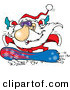 Cartoon Vector of a Happy Santa Snowboarding by Ron Leishman