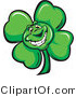 Cartoon Vector of a Happy St. Patrick's Day Shamrock Clover Mascot by Chromaco