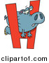Cartoon Vector of a Hippo Trying to Squeeze Through Alphabet Letter 'H' by Toonaday