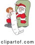 Cartoon Vector of a Kid Telling an Overwhelmed Santa What She Wants for Christmas by Johnny Sajem