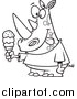 Cartoon Vector of a Lineart Rhinoceros Holding an Ice Cream Cone and Licking His Lips by Toonaday