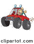 Cartoon Vector of a Man 4 Wheeling His Truck Through Mud by Toonaday
