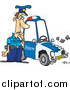 Cartoon Vector of a Patrol Officer Staring at His Beat up Car by Toonaday