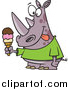 Cartoon Vector of a Rhinoceros Holding an Ice Cream Cone and Licking His Lips by Toonaday
