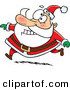 Cartoon Vector of a Santa Grinning While Running in His Red Suit by Ron Leishman