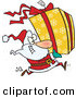 Cartoon Vector of a Santa Running to Deliver a Large Christmas Present Gift Wrapped in a Red Bow, Ribbon and Yellow Paper with a White Snowflake Pattern by Ron Leishman