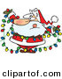 Cartoon Vector of a Santa Tangled in Colorful Christmas Lights by Ron Leishman
