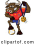 Cartoon Vector of a Spanish Soccer Bull Posing with Gold Medal Award and Ball by Zooco