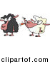 Cartoon Vector of a White Sheep Sticking Its Tongue out at a Black Sheep by Toonaday