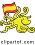 Cartoon Vector of a Yellow Octopus Carrying Flag of Spain by Zooco