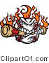 Cartoon Vector of an Aggressive Flaming Cartoon Baseball Mascot Destroying a BatAggressive Flaming Cartoon Baseball Mascot Destroying a Bat - Coloring Page Outline by Chromaco