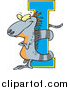 Cartoon Vector of an Iguana Wrapped Around Alphabet Letter 'I' by Toonaday