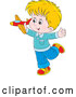 Cartoon Vector of Caucasian Boy Playing with a Toy Plane by Alex Bannykh