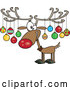 Cartoon Vector of Christmas Reindeer Decorated with Ornaments on Antlers by Toonaday