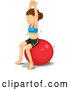 Cartoon Vector of Fit Woman Stretching on a Ball by Graphics RF