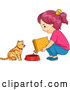 Cartoon Vector of Girl Feeding Her Cat Dry Food by BNP Design Studio